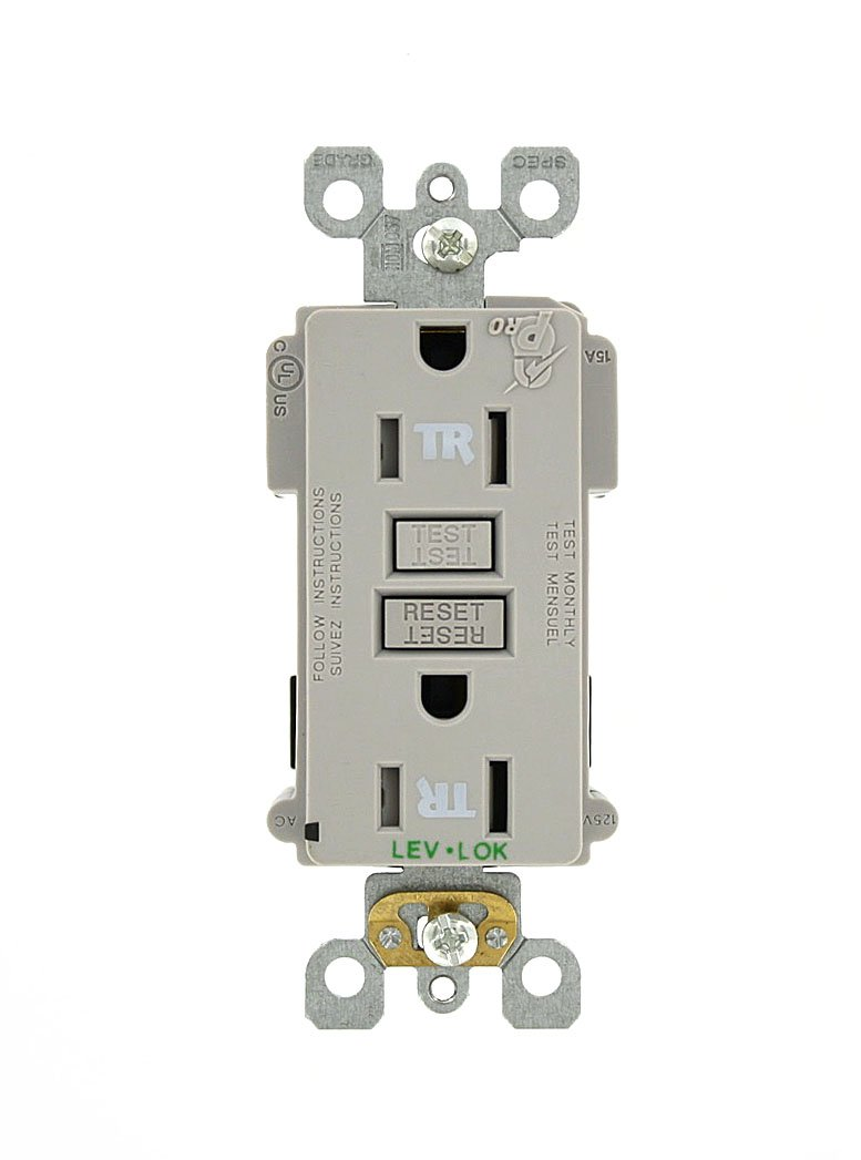 Leviton MT759-GY 15 Amp, 125 Volt, Lev-Lok, Smartlock Pro, Tamper Resistant, GFCI Receptacle, Commercial Grade, Gray