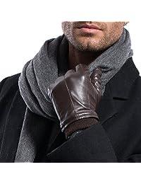 MATSU Men Winter Warm Lambskin TouchScreen Caremere Lined Leather with Cuffs Gloves M2002