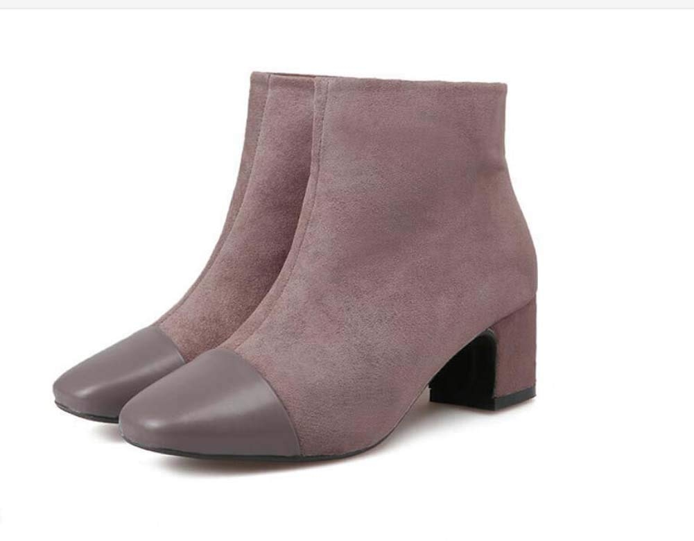 Femmes Bottes Martin 5.5 Cm Talon De Cheville Bottie Square Toe Toe Square Couture Chaussures Robe Casual Chaussures De Cour De L'ue Taille 34-39 39EU|Khaki 370cda