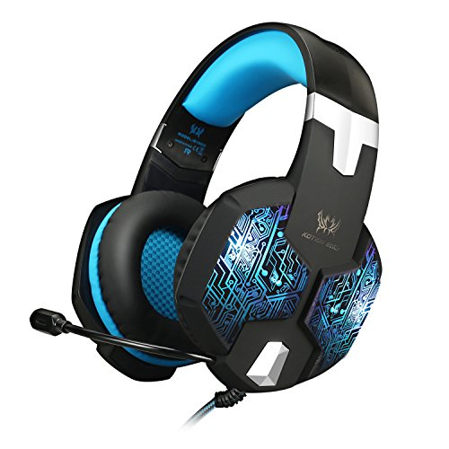 Jeecoo JC-G1000 Stereo Over-ear Gaming Headset with 7 Colors Breathing LED Light and Microphone - Blue by Jeecoo