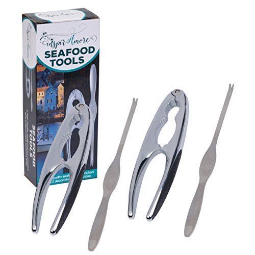 Shellfish Cracker (Lobster Cracker Tool Set for Shellfish and Nuts - 2 Pairs of Non-Slip Handle Crackers and 2 Stainless Steel Seafood Forks)
