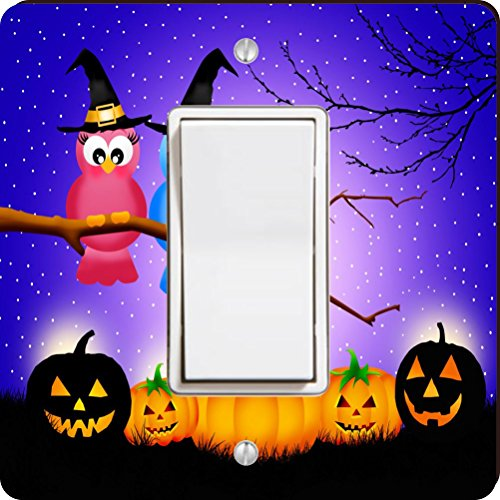 Rikki Knight 44332 Single Rocker Halloween Owls in Tree At Night with Pumpkins Design Light Switch (Owl In A Tree Halloween)