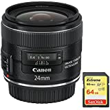 Canon EF 24mm f/2.8 IS USM (5345B002) with Sandisk 64GB Extreme SD Memory UHS-I Card w/ 90/60MB/s Read/Write