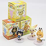 Game, Fun, Anime Kemono Friends Fennec Serval Common Raccoon Doll PVC Figure Collectible Model Toy 6.5-7.5cm 3pce/set, Toy, Play