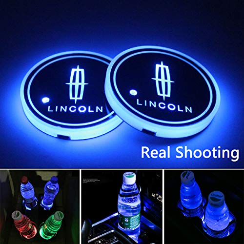 License plate frameX 2pcs LED Car Cup Holder Lights for Lincoln, 7 Colors Changing USB Charging Mat Luminescent Cup Pad, LED Interior Atmosphere Lamp (Lincoln)