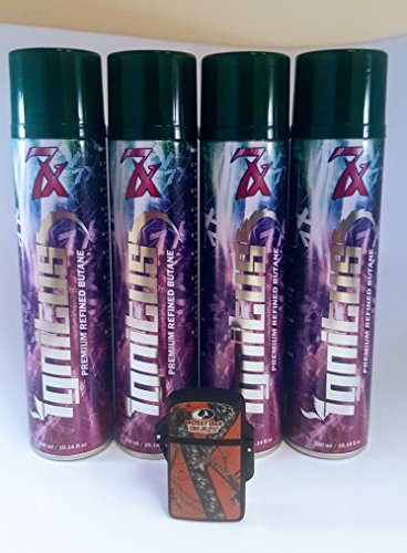4 Cans of Ignitus 7x Ultra Refined Butane Fuel PLUS a torch waterproof lighter ()