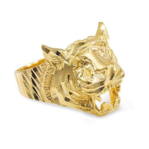 Women's 10k Yellow Gold High Polish Band Tiger Ring (Size 6.5) (Tigers High Polish)