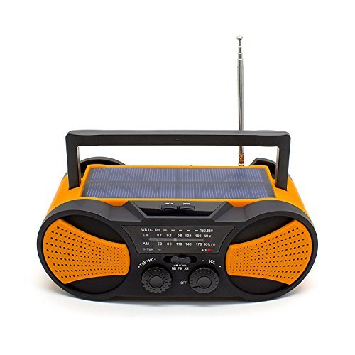 Crank Radio, NOAA Weather Radio, Audio Speaker, RunningSnail AM/FM Emergency Radio with 4000mAh Battery, 1W Flashlight, 4LED Reading Lamp,1W Solar Panel Charger, SOS Alarm (Orange)