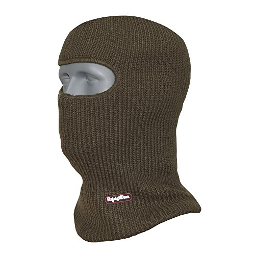 RefrigiWear Double Layer Acrylic Knit Open Hole Balaclava Face Mask, Sage Green One Size Fits All (Balaclava One Hole)