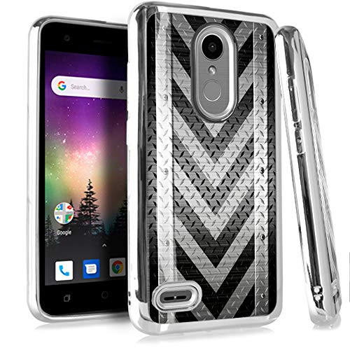(Compatible LG Rebel 4 | Rebel 3 | Rebel 2 Case Electroplated Chrome TPU Brushed Textured Hybrid Phone Cover (Gray Arrow Crosshatch))