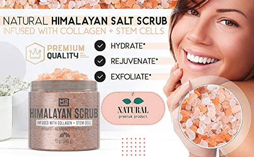 M3 Naturals Himalayan Salt Body Scrub Infused with Collagen and Stem Cell - Natural Exfoliating Salt Scrub for Acne, Cellulite, Deep Cleansing, Scars, Wrinkles, Exfoliate and Moisturize Skin 12 oz