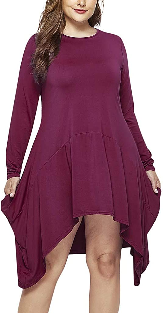 RUIVE Women/'s Sweatshirt Dresses Autumn Patchwork Pockets Round Neck Loose Tops Ladies Solid Asymmetrical Blouse