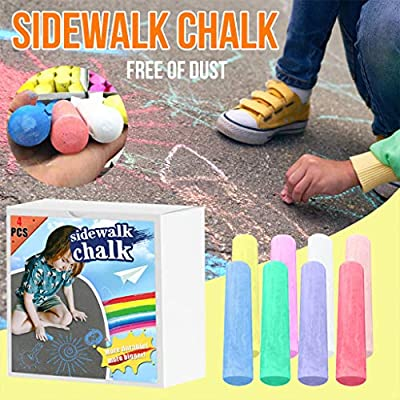 Jumbo Sidewalk Chalk Set of 4 for Kids Toddlers - Outdoor Side Walk Outside Driveway Easter, Nontoxic Easter Basket Stuffers DIY Children Painting Chalk Party Favor for Boy Girls: Arts, Crafts & Sewing