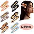 ALinmo 12pcs Acrylic Hair Clips Hair Pins Hair Barrettes Fashion Print Hairpins Vintage Hair Accessories Geometric Alligator Hair Clips for Women Adults Hair Accessories