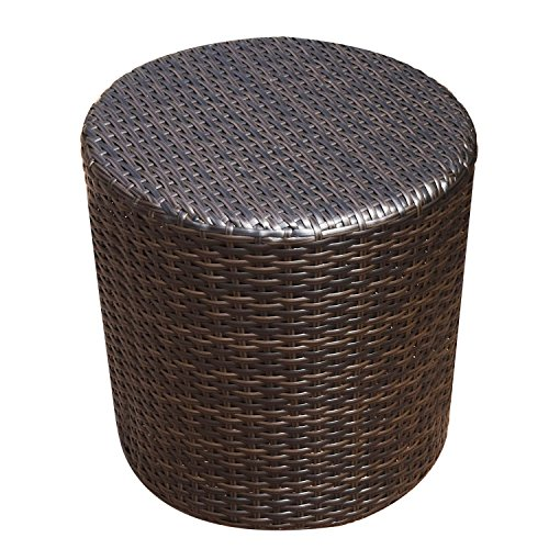Brown Outdoor Wicker Side Table (Coffee-table) (Wicker Side Table Outdoor)
