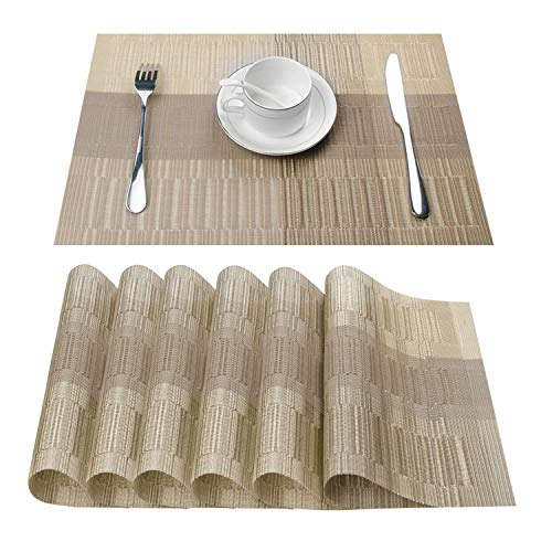 (Top Finel Placemats,Vinyl Table Mats Set of 6,Heat Resistant Place Mats for Dining Table Washable Anti-Skid,Champagne)