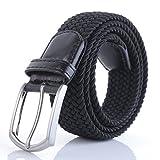 Weifert Men's Stretch Woven 1.3''Wide Elastic Braided Belts (34-37, Black 2)