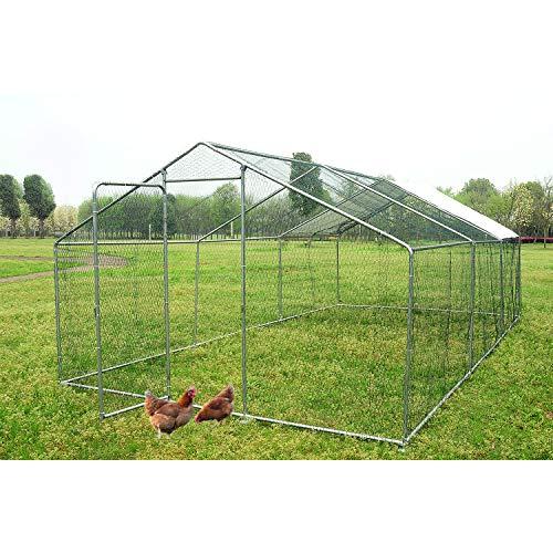 walsport Large Chicken Coop Walk-in Metal Hen Cage with Waterproof Cover, Enclosure Playpen for Backyard Farm Outdoor