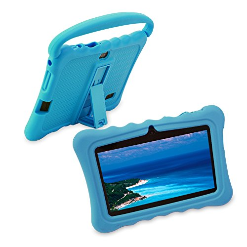 7 inch Kids Tablet PC Case, Silicone Cover with Handle and Kickstand Compatible with TOPELOTEK 7, HENGKE 7, Dragon Touch Y88X Plus, Tagital 7 T7K, Contixo Kids Tablet K2 K3 Q88 (Blue) (Prime Pc Tablet Cases)