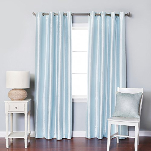 Discount Silk - LuxuryDiscounts 2 Piece Solid Light Blue Faux Silk Grommet Window Curtain Panel 58 by 84 Inch