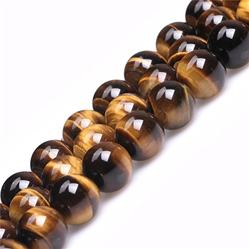 Round Tiger Yellow Gold (Joe Foreman Yellow Tiger Eye Beads for Jewelry Making Natural Gemstone Semi Precious 12mm Round AAA Grade 15
