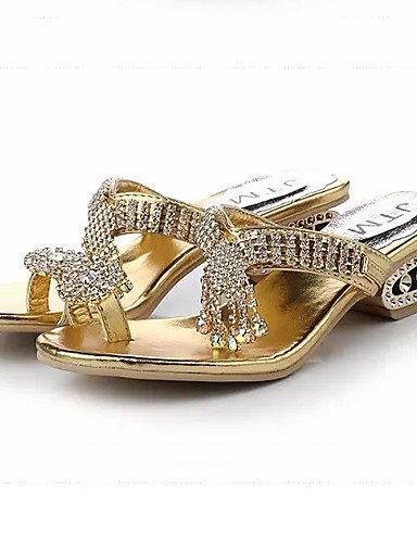 LFNLYX Zapatos de mujer-Tacón Robusto-Tacones / Plataforma / Anillo Frontal-Sandalias-Vestido-Sintético-Plata / Oro Silver