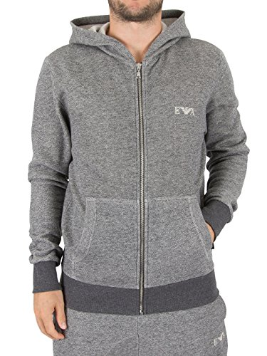 Emporio Armani Men's Soft Melange Terry Zipup Sweater, Dark Grey Melange, - Armani Uk