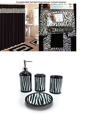 - 19 Piece Bath Accessory Set Black Zebra Animal Print Bath Rug Set + Black Zebra Shower Curtain & Accessories