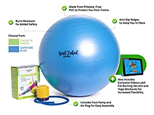 Pro Fitness 65cm Exercise Ball By KindTribal Elements: Anti-Burst/Slip Balance Gym Body Ball-For Yoga, Pilates, With Foot Pump-Flexible Therapeutic, Birthing-Use At Home-As Office Chair from Good For You Enterprises LLC