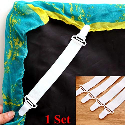 4pcs Bed Sheet Fasteners Mattress Strong Clip Grippers Elastic Holder (ONE, White) by SUNSEE WOMEN'S CLOTHES PROMOTION (Image #4)