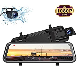 """TOGUARD Mirror Dash Cam, Upgraded 10"""" Dual 1080P FHD Car Camera Dash Cam Front and Rear with Waterproof Backup Camera, IPS Full Touch Screen Video Streaming Rear View Mirror Camera Parking Assistance"""