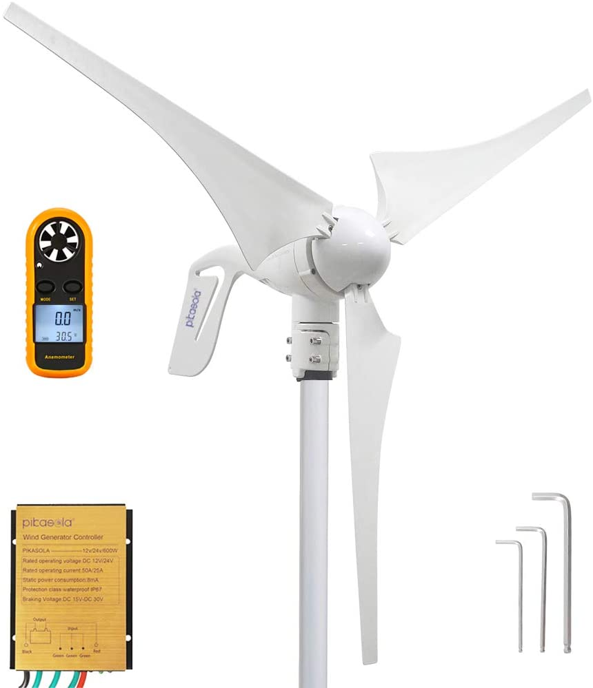 Pikasola Wind Turbine Generator 400W 24V with 3 Blade 2.5m/s Low Wind Speed Starting Wind Turbines with Charge Controller, Windmill for Home