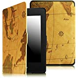 Fintie SmartShell Case for Kindle Paperwhite - The Thinnest and Lightest Leather Cover for All-New Amazon Kindle Paperwhite (Fits All versions: 2012, 2013, 2014 and 2015 New 300 PPI), Map Brown