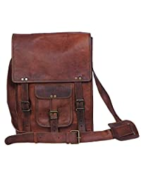 Komal's Passion Leather 11 Inch Brown Sturdy Ipad Leather Messenger Satchel Shoulder Bag