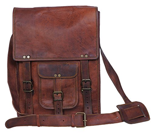 Komal's Passion Leather 11 Inch Sturdy Leather Ipad Messenger Satchel - Lined Leather Satchel