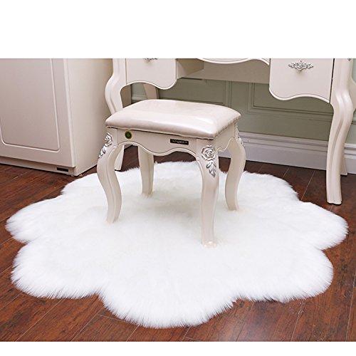 LOCHAS Stylish Ultra Soft Silky Fluffy Shag Faux Sheepskin Area Rug, Rugs for Living Room Bedroom Nursery Floor, 3' x 3', White by LOCHAS