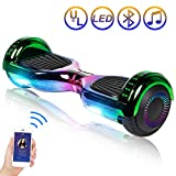 Hoverboard Self Balancing Scooter 6.5' Two-Wheel Self Balancing Hoverboard with Bluetooth Speaker and LED Lights Electric Scooter for Adult Kids Gift UL 2272 Certified Plating Dazzle Series - Chrome
