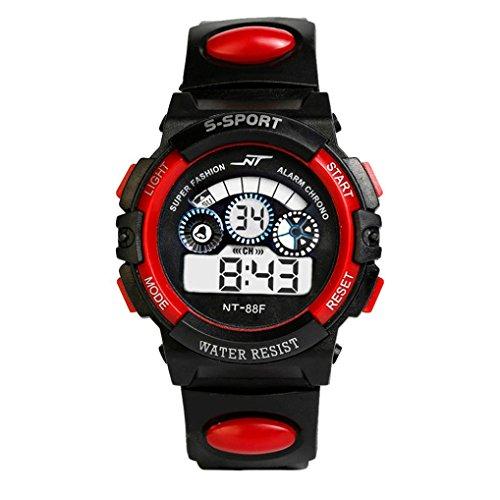 Sports Boy Digital LED Quartz Alarm Date Wrist Watch Waterproof Red - 8
