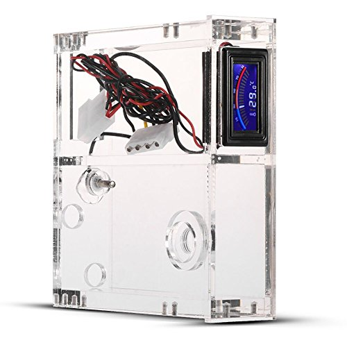 PC Computer Liquid Water Cooling Reservoir Single Computer Chassis Drive Tank with Dial Thermometer Gaming Computer Case by Yosoo