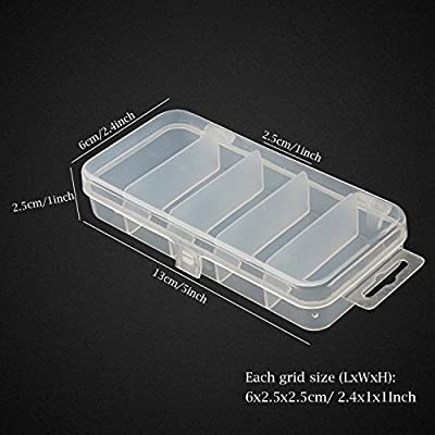 Honbay 2PCS 5 Grid Clear Visible Plastic Fishing Tackle Accessory Box Fishing Lure Bait Hooks Storage Box Case Container Jewelry Making Findings Organizer Box Storage Container Case - 13x6x2.5cm