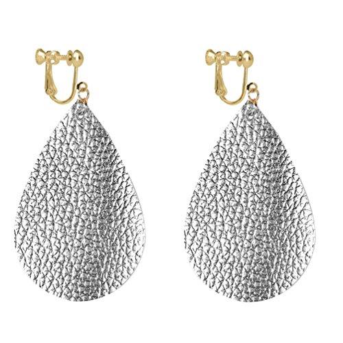 Teardrop Faux Leather Clip on Earrings Dangle Big Drop Antique Looking Handmade Fashion for Women ()