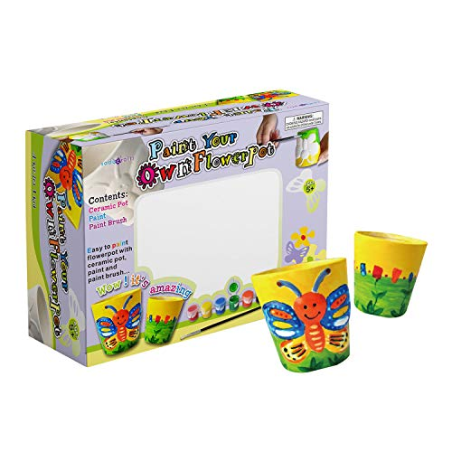 Educational Pot - SadoCrafts Flower Pots Painting Kit - Fun, Interactive, Educational and DIY Ceramic Pot Painting for Gardening and Decoration for Kids Ages 5+