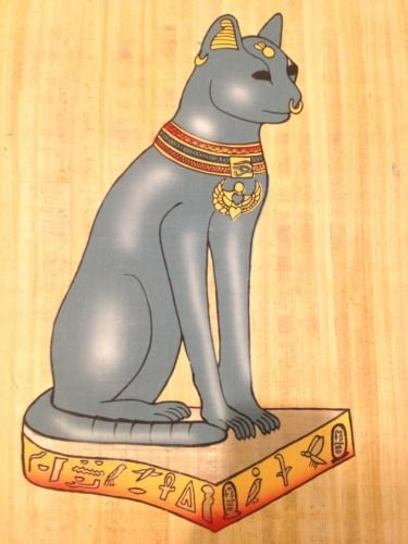 Huge Ancient Egyptian Magic Cat God Bast for Joy Handmade Painting on Papyrus Plant Antique