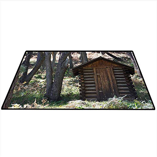 (Outhouse Area Rug Carpet Vintage Farm Life Cottage Barn Shed in Forest Trees Leaves Picture Art Door mat 5'x6' (W150cmxL180cm) Light Grey and Fern Green)