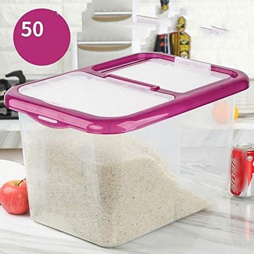 プラスチックライスバレル収納ボックス小麦粉タンク家庭用密封ダブルグリッド防虫防湿食品収納ボックス25kg、25kg透明パープル+計量カップ