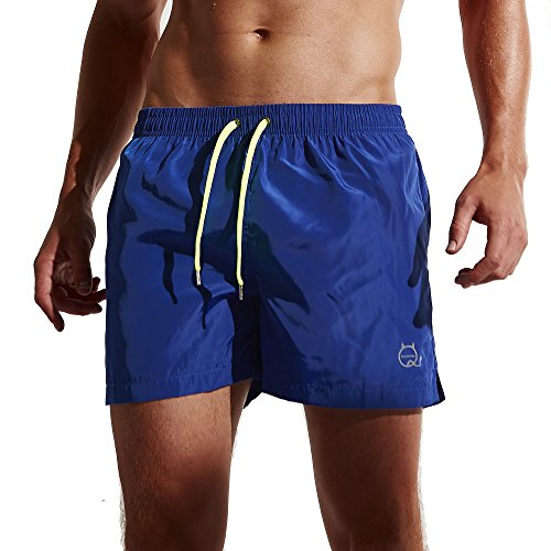 Funycell Men's Shorts Swim Trunks with Pockets Blue US L