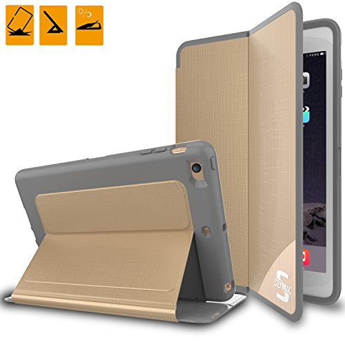 iPad Mini Case Cover SEYMAC [Hard Leather Case] Slim Case with Auto Wake/Sleep Cover for iPad Mini 1/2/3 【Easy Installation】 [Gold ]