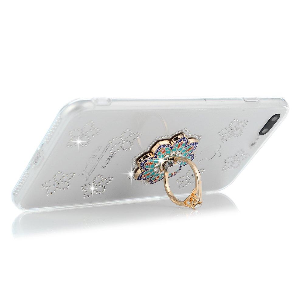 iPhone 7 Plus, iPhone 8 Plus, YOKIRIN Clear Glitter Crystal Floral Series Hybrid Slim Luxury Bling Rhinestone Soft TPU Bumper Frame Hard PC Plastic Diamond Crystal Cover with Mandala Ring Stand by YOKIRIN (Image #5)