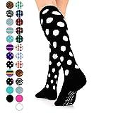 Go2 Fashion Compression Socks for Men & Women 15-20 mmHg Athletic Running Socks for Nurses Travel Medical Graduated Nursing Compression Stocking Sport Sock (BlackWhitePolka,L)