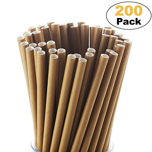 Paper Straw Disposable Brown 200 Pack Cocktail Straws Christmas Ecofriendly Decorations Straws Halloween Straws Bulk Drinking Straws Birthday Wedding Holdiay Party Supplies Bridal Shower Decorations -
